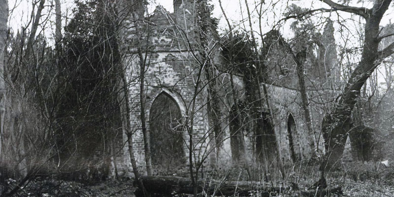 The Ruined Abbey at Painshill, before restoration
