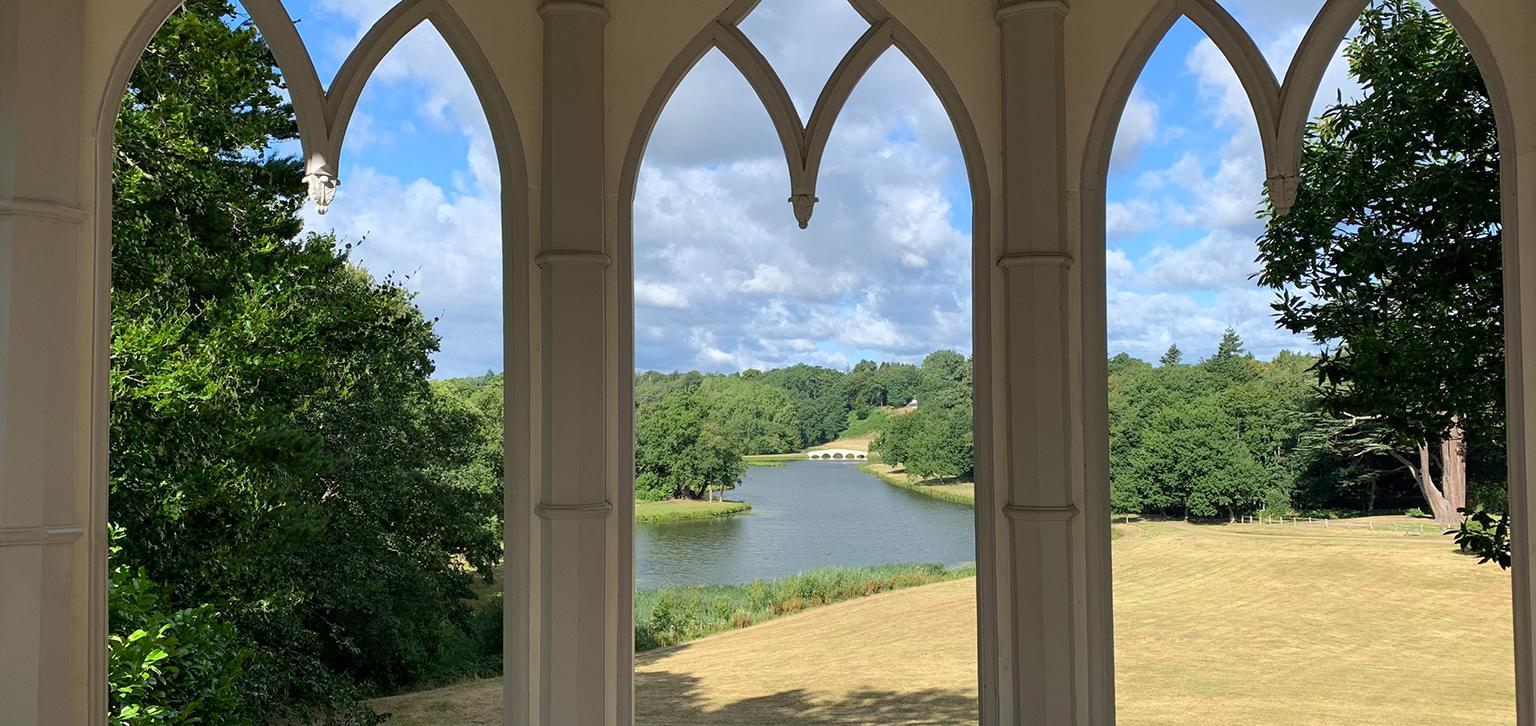 Through arches in summer