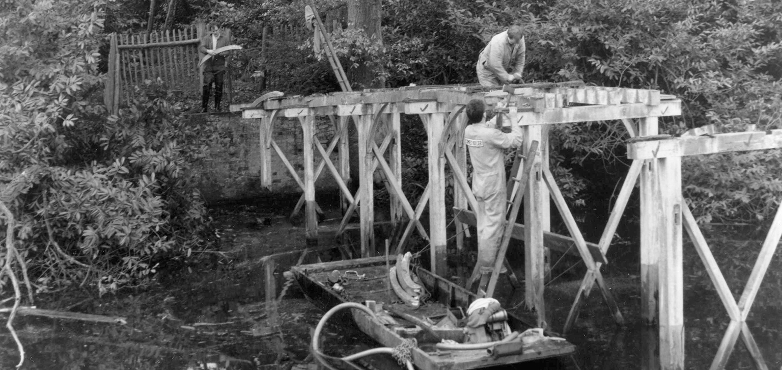 Work on the Chinese Bridge pre-restoration